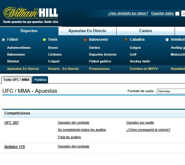 Ставки на бои без правил в БК Уильям Хилл