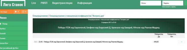 Спецпредложение дня в букмекерской конторе Лига ставок