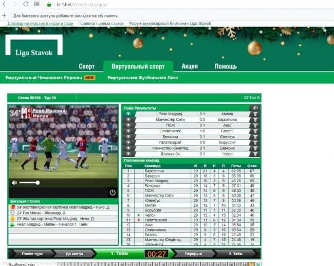 Вирутальный футбол в Лиге ставок